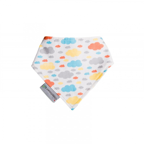 Bavoir bandana Nuages multicolores made in France