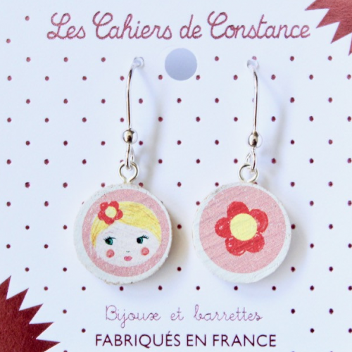 Grandes boucles pendantes Matriochka rose origine France