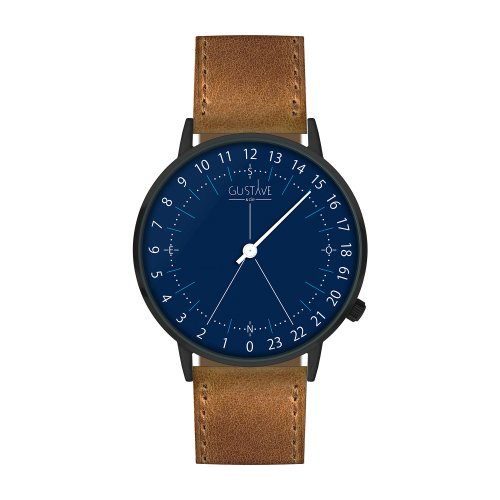 Montre 24H Antoine Bleu– Cuir marron surpiqûres made in France
