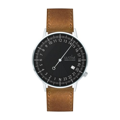 Montre 24H André Noir et argent– Cuir marron surpiqûres made in France