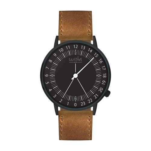 Montre 24H Antoine Noir– Cuir marron surpiqûres made in France