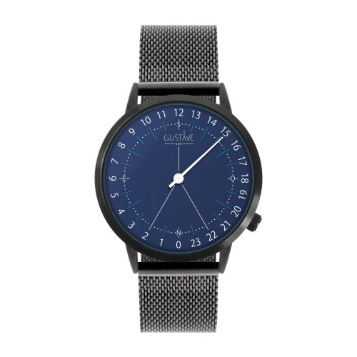 Montre 24H Antoine Bleu – Milanais noir made in France