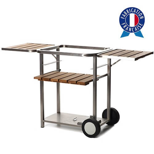 Chariot plancha bois et inox taille 2 feux made in France
