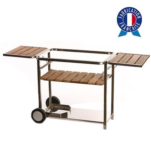 Chariot plancha bois et inox taille 3 feux made in France