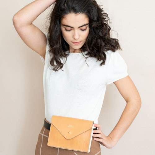 Pochette ceinture Angèle / Cuir naturel made in France