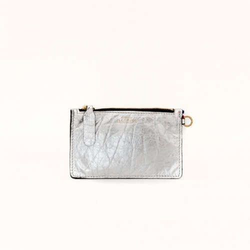 Pochette Jade / Cuir argent made in France
