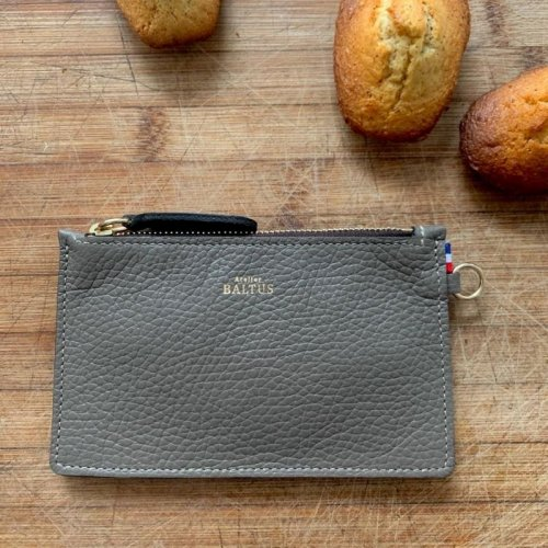Pochette Jade / Cuir gris made in France