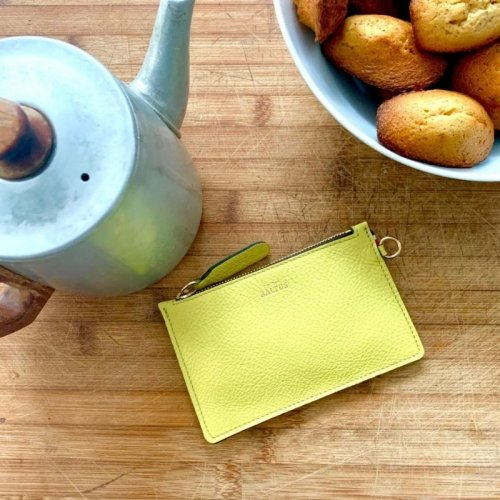 Pochette Jade / Cuir citron made in France