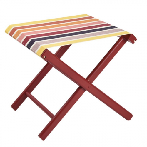Pliant Pêche Complet Garlin Ocre : Structure rouge – Toile 100% coton made in France