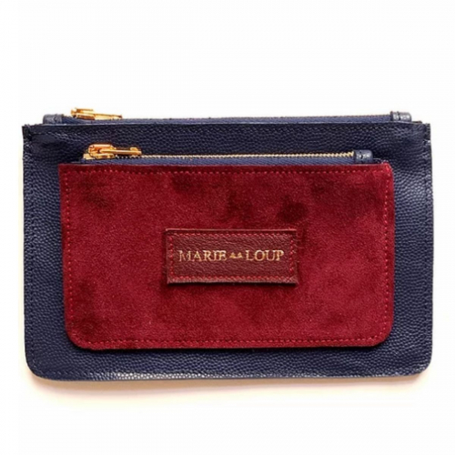 Porte-feuille Louloup - Caviar marine & Bordeaux velours made in France