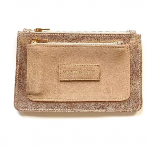 Porte-feuille Louloup - Champagne & Beige made in France