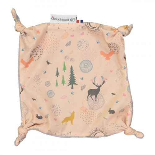 Doudou plat petits noeuds Lior rose made in France