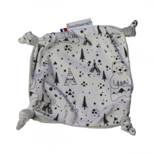 Doudou plat petits noeuds Fox and Bear noir et blanc made in France