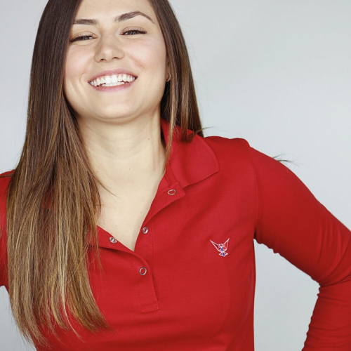 Polo manches longues rouge - femme
